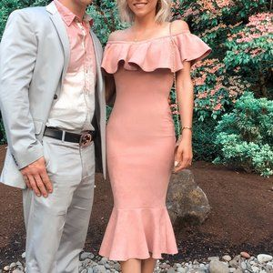 Dusty Pink Off Shoulder Suede Midi Dress